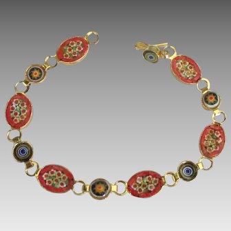Vintage Italian Orange Micro Mosaic Bracelet