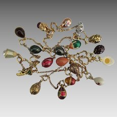 """Joan Rivers 19 Faberge Eggs and Charms 44"""" Necklace"""