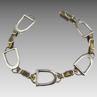 Taxco Sterling Horse Saddle Stirrup Link Bracelet