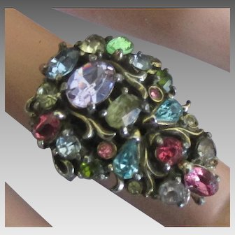 Stunning Hollycraft Rhinestone 1950 Adjustable Ring