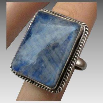 Sterling Large Rectangle Labradorite Ring-