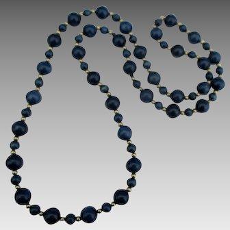 "Beautiful 14K Lapis Bead 29"" Necklace"