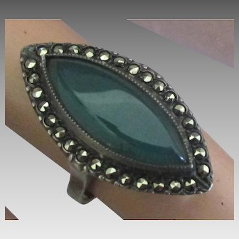 Lovely Sterling Marcasite Ring with Chrysophase