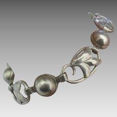 Vintage Sterling Lily Link Bracelet