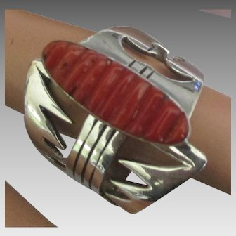 Wide Cut Work Sterling Carved Coral Ring- Size 12 3/4