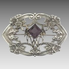 Large Early 1900's Art Nouveau Brooch with Amethyst Glass