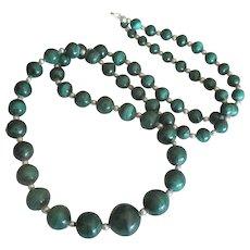 "Stunning Malachite Sterling 34"" Graduated Bead Necklace"