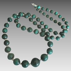 "Stunning Malachite Sterling 34"" Graduated Bead Necklace"