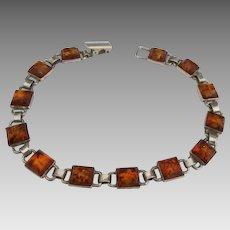 Vintage Sterling Baltic Amber Link Bracelet