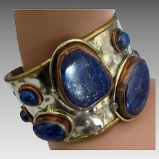 Vintage Brutalist Mixed Metals Lapis Bracelet
