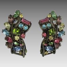 Sparkling Hollycraft Fruit Salad Rhinestone Earrings