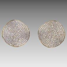 Sterling Rhinestone Pave Pierced Earrings