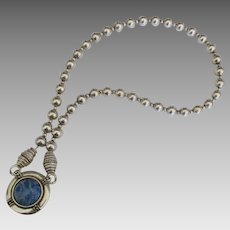 Vintage NA Navajo Reversible Sterling Concho Sodalite Necklace