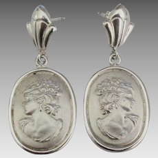 Italian Sterling Female Cameo Pierced Earrings