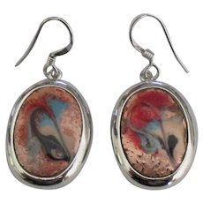 Estate STerling Enamel Art Pierced Earrings