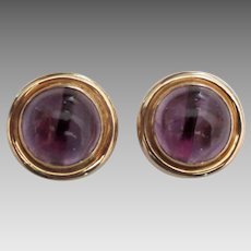 Stunning 14K Amethyst Cabochon Omega Earrings