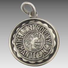 Vintage Sterling Lost Colony Manteo North Carolina Charm