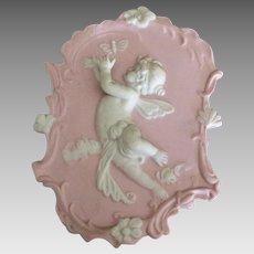 Vintage German Bisque Porcelain Cherub Plaque