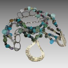 Fabulous Sterling Mineral Bead 2 Strand Necklace