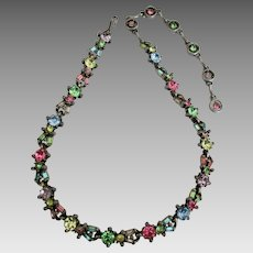 Sparkling Hollycraft 1955 Fruit Salad Rhinestone Necklace