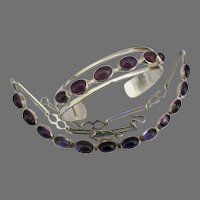 Mid Century Taxco Modernist Sterling Amethyst Necklace and Bracelet Set