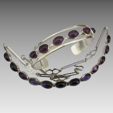 Mid Century Taxco Modernist Sterling Amethyst Necklace and Bracelet Set