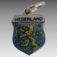 Enamel 800 Silver Nederland Travel Shield Charm