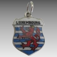 Enamel 800 Silver Luxembourg Travel Shield Charm