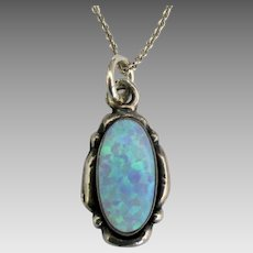 Lovely Sterling Opal Pendant and Chain