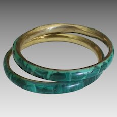 Vintage Malachite Brass Bangle Bracelet Set