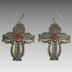 Vintage Navajo Sterling Coral Cross Pierced Earrings