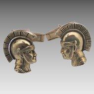 Vintage Roman Solider Gold Tone Cuff Links