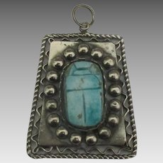 Large Vintage Sterling Egyptian Scarab Pendant