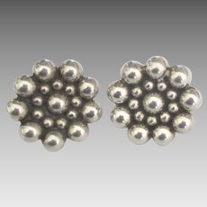 Classic Taxco Sterling Fixed Bead Pierced Earrings