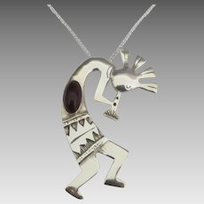 Large Navajo Sterling Amethyst Kokopelli Pendant with Chain