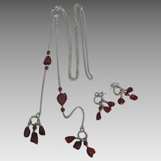Fabulous Cherry Amber Sterling Necklace Earrings Set