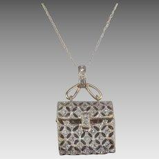 !4K YG Diamond Movable Purse Pendant and Chain
