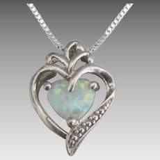 Pretty Sterling Opal Heart Pendant and Chain