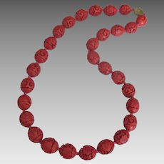 Vintage Large Carved Cinnabar Bead Necklace- 24""