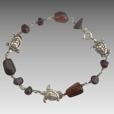 Adorable Sterling Turtle Cherry Amber Bead Bracelet