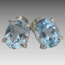 Sparkling 2 ct Blue Topaz Sterling Pierced Earrings