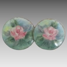 Vintage HP Floral Porcelain Sterling Pierced Earrings