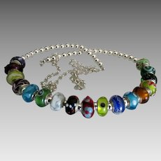 Stunning Colorful Venetian Bead Sterling Necklace- 29 inches