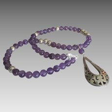 Beautiful Amethyst Gemstone Sterling Necklace with Drop