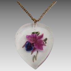 Lucite Orchid Reverse Carved Intaglio Pendant Chain
