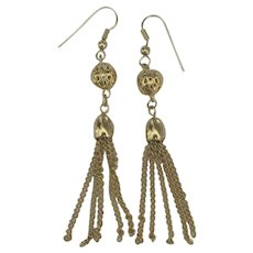 Flirty Gold Tone Metal Tassel Pierced Earrings