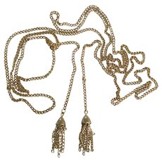Flirty Gold Tone Lariat Necklace with Tassels