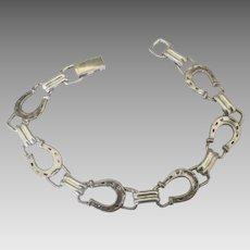 Charming Sterling Horse Shoe Link Bracelet