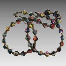 Graduated Murano Millefiore Art Glass Necklace