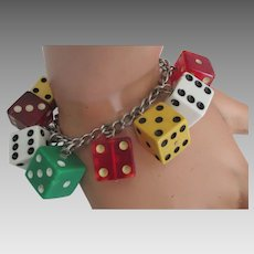 Flirty Sterling Vintage Dice Bracelet